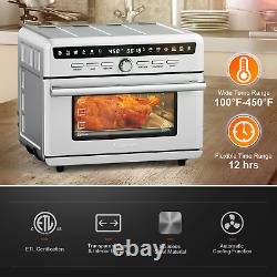 10-in-1 Air Fryer Toaster Oven Dehydrate Bake Kitchen Cooking With Recipe 26.4 QT