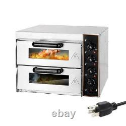 110V Electric 3000W Pizza Oven Double Deck Commercial Toaster Bake Broiler Oven