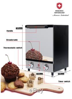 12L 1000W Convection Electric Toaster Mirror Oven Stainless Steel Bake CookerLot