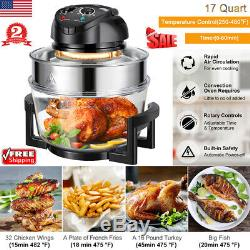 17Qt 1200W Halogen Convection Countertop Wave Oven Air Fryer Toaster Bake Cooker