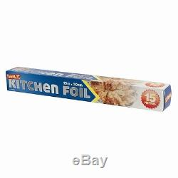2 x Aluminium Kitchen Catering Foil Tin Food Oven Baking Wrap 300mm x 15m DW