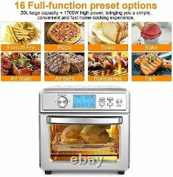 21QT Air Fryer Oven 16-in-1 Electric Presets for Bakingwith LED Display Choice/