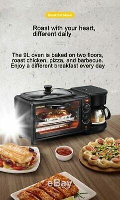 220V Multifunction 3 In 1 Breakfast Machine Toaster Oven Electric Frying Coffee