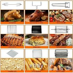 23QT Air Fryer Countertop Toaster Oven Rotisserie Bake Rack Included Black 6in1