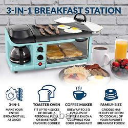3-in-1 Family Size Electric Breakfast Station, Coffeemaker, Griddle, Toast Oven