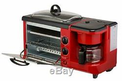 3-in-1 Multi 4 Slice Toaster Oven Breakfast Hub Griddle Pan Coffee Maker Red