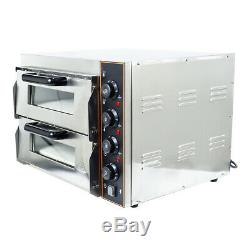 3000W Electric Pizza Oven Twin Deck Kitchen Commercial Baking Oven Catering