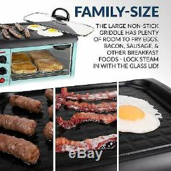 3in1 Versatile Toaster Oven Coffee Maker Non Stick Griddle Breakfast Stove Blue