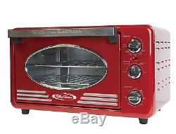 50s Retro Red 6 Slice Convection Toaster Oven Electric Kitchen Bake Countertop