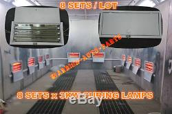 8 Sets x 3KW Spray Baking Booth Oven Infrared Paint Curing Lamps Heating Lights