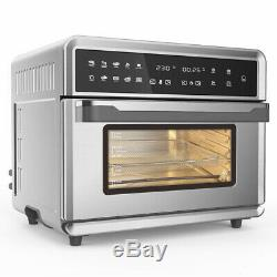 Air Fryer Oven, 1800W Stainless Steel 26.4QT Capacity and Practical Accessories