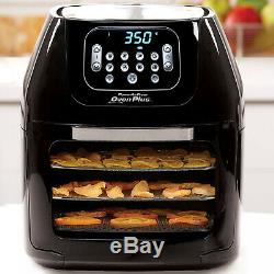 Black 6-Quart AirFryer Oven Bake Grill Dehydrator Rotisserie XL Visible Window