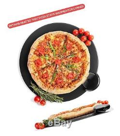 Black Pizza Stone Set for Baking & Cooking Pizzas & Bread in Oven, Grill or B