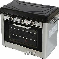 Camp Oven Stove Propane Combo Portable Travel Baking Outdoor Cooking Nonstick