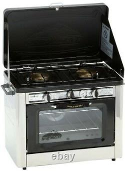 Double Burner Steel Propane Gas Range Outdoor Pizza Oven with Removable Oven Racks