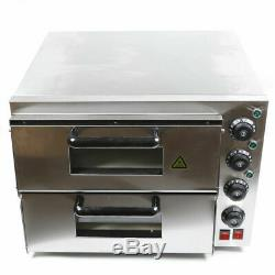 Electric 3000W Pizza Oven Double Deck Stainless Steel Commercial Baking Oven USA