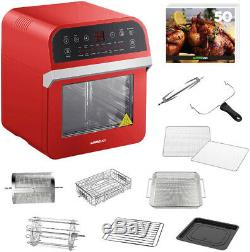 GoWISE USA 12.7 Qt. Electric Air Fryer Oven / Rotisserie with Accessories, Red