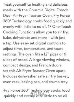 Gourmia French Door Air Fryer Toaster Oven Fry/Dehydrate/Toast/Roast/Boil/Bake