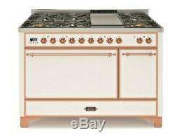 ILVE 48 Dual Fuel Range Double Oven White with Copper Trim