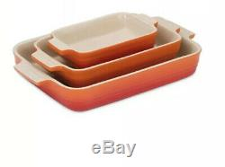 Le Creuset 3 Piece Volcanic Oven Baking Stoneware Set (NEW)