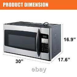 Microwave Oven Over-the-Range Hood 2 Speed Exhaust Fan 1.6 CU FT Stainless Steel