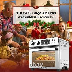 Moosoo 24 Quart/6 Slices 1700W Air Fryer Toaster Oven Stainless Steel Oil less