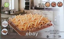 Non-Stick Copper Oven Baking Tray 2-in-1 with Elevated Mesh Grill Basket