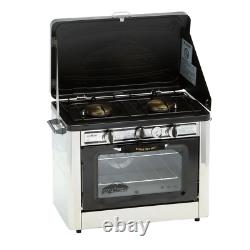 Outdoor Camp Oven Double Burner Propane Gas Range and Stove Stainless Steel NEW