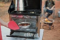 Outdoor Camping Oven with 2 Burner Stove top Cooking Portable Baking Range Oven