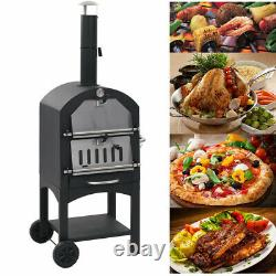Outdoor Pizza Oven Charcoal Wood Burning Cooker Steel Fire Baking Cooking Patio