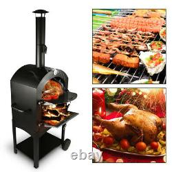 Outdoor Wood Burning Pizza Oven Charcoal Steel Fire Stones Baking Cooking Patio