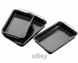 RSW Set of 3 Non-Stick Roasting Oven Tin Trays With Racks Baking Cooking Grill