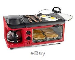 Red Toaster Oven 3 In 1 Breakfast Maker Station Retro Griddle Coffee Pot Camper