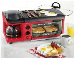 Retro 3-in-1 Breakfast Station Mini Kitchen Coffee Maker Griddle Toaster Oven