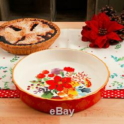 The Pioneer Woman Winter Bouquet 10-Inch Red Baking Dish Pie Pan Oven to table