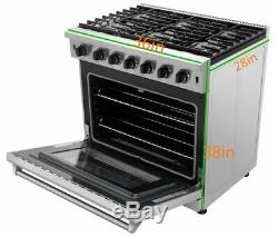 Thor Kitchen 36 Gas Range Stove Oven Stainless Steel