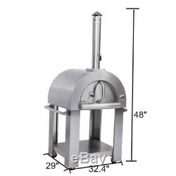 Thor Outdoor Pizza Oven Charcoal Wood Burning Steel Fire Stones Baking Cooking