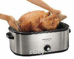Turkey Oven Electric Roaster Slow Cooker Bake Roast Removable Pan 28 lb / 22 Qrt