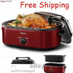 Turkey Roaster Oven Portable Electric Slow Cookware Baking 18Qt High Dome & Lid